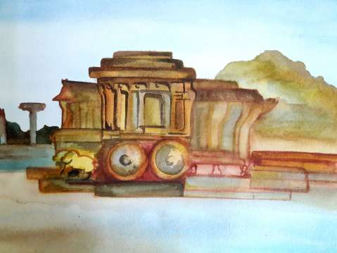 The famous chariot at Vittala temple-1st day at water colour