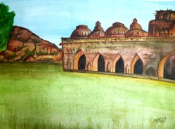 Elephant stables- Water colour Dat2