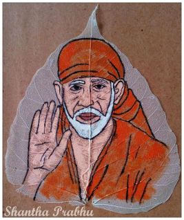 LEAF PAINTING: Sai Baba
