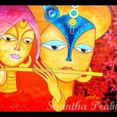 Acrylic Painting: Radha and Krishna
