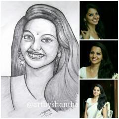 Portrait of actor Chaitra Rao. Kannada Serial: Raaga Anuraaga