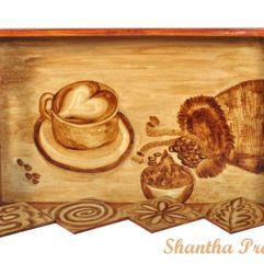 COFFEE PAINTING: Wooden Tray with Coasters
